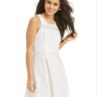 Hailey Logan by Adrianna Papell Juniors' Lace Illusion-Panel A-Line Skirt