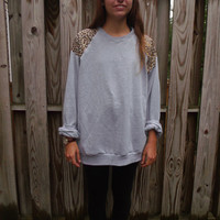 Appliqued Shoulder Sweatshirt . Leopard