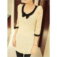 Black Collar Ivory Bowknot Slim Lace Mini Dress@XYZ9796i