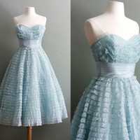 50s XS/S Powder Blue Peggy Sue Party GOWN by flourclothing on Etsy