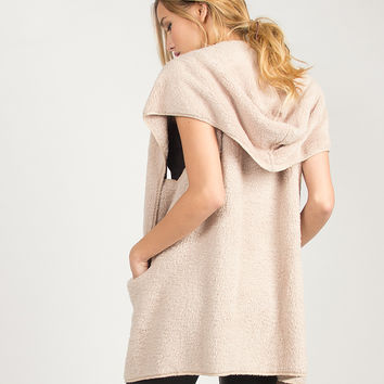 Soft Cozy Hooded Vest - Beige - Beige /