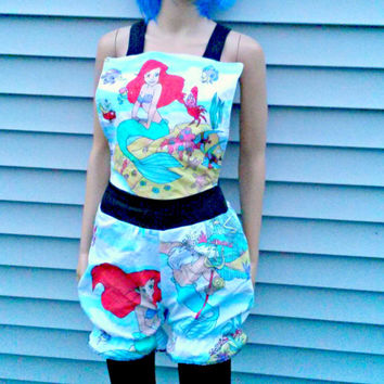 The Little Mermaid Romper your size from repurposed fabric Ariel Jumper