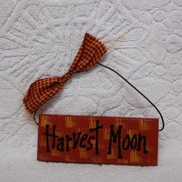 Harvest Moon Wood Mini Painted Shelf Sitter Sign