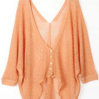 Asymmetric Long Sleeves Orange Cardigan S002753