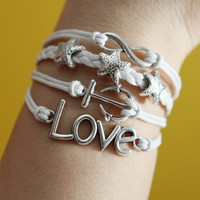 Love Infinity Wish Karma Mini Anchor Silver Starfish  Bracelet silver bracelet white wax cords,white braided leather bracelet