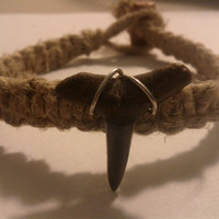 Hemp shark tooth bracelet