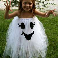 Too Cute To Spook Tutu ghost Halloween Costume size 4T-6 girls