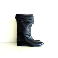 vintage leather boots  BLACK NOiR slouchy by shopREiNViNTAGE