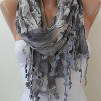 Trendy  - Grey Linen Scarf  with Trim Edge
