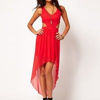 Love Cut Out Chiffon Dip Hem Dress at asos.com
