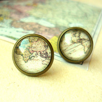 Retro Space, Globetrotter, Vintage World Map Stud Earrings - Free Shipping - Made to order :)