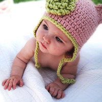 Organic Baby Hat - Pink Earflap Beanie with Dusty Sage Trim-Size 3 Photography prop