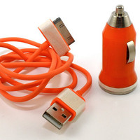 Orange Glow in the Dark iPhone charger - car charger included