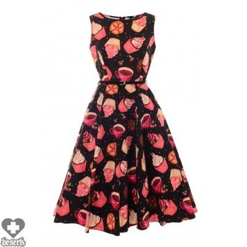 Hepburn Dress | Black Cupcake Print