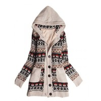 Discount Women Beige Sweater Small House Print Coat @T606beige