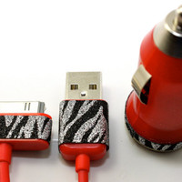 Red, black and silver animal print glitter ipad car charger