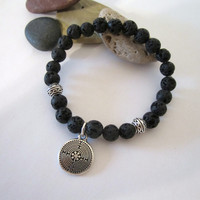 Lava Bead with Labyrinth - Stretch/Stack Bracelet - Unisex