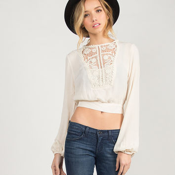 Gauze Cropped Crochet Detail Top - Natural /