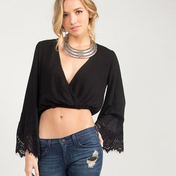Super Bell Sleeved Cropped Blouse - Black - Black /