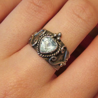 Vintage Silver Heart Ring Size 6/6.5 - only 1 available!