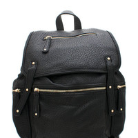 zippered-leather-backpack BLACKBLACK MOCHABROWN NAVYBROWN - GoJane.com