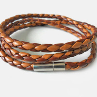 Bangle leather bracelet woven bracelet women bracelet men bracelet made of leather woven wrist bracelet  SH-1732