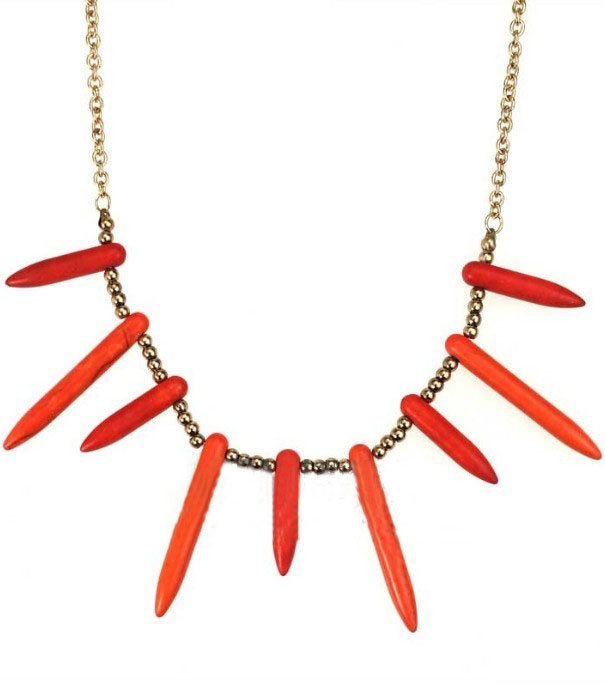 Red Spike Beaded Gold Thorns Necklace - Sheinside.com