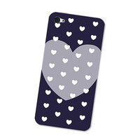 Navy Blue Polka Dots Heart Pattern iPhone 4S Skin: iPhone 4 Skin Decal - Cell Phone - iPhone Skin Cover with Polka Dot Pattern