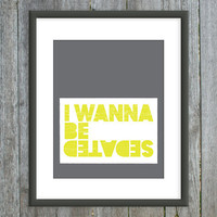Lyrics Art - I Wanna Be Sedated - Charcoal Gray, Citron Green