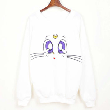 Sailor Moon Crystal Artemis Guardian Kitty Cat Face Graphic Print White Pullover Sweater