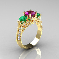 14K Yellow Gold Three Stone Diamond Emerald Amethyst Solitaire Ring R200-14KYGDAMEM