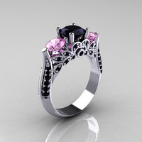 14K White Gold Three Stone Light Pink Sapphire Black Diamond Solitaire Ring R200-14KWGBDLPS