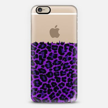 Purple Faux Denim Leopard Transparent iPhone 6 case by Organic Saturation | Casetify