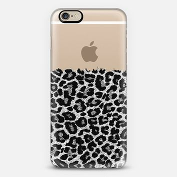 Black and White Faux Denim Leopard Transparent iPhone 6 case by Organic Saturation | Casetify