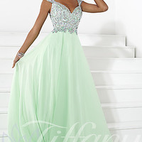 Long V-neck Prom Dress by Tiffany