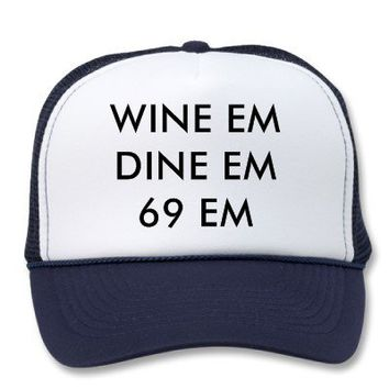 WINE EMDINE EM69 EM TRUCKER HAT from Zazzle.com
