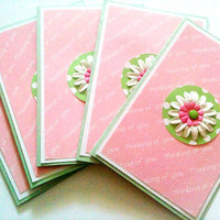 Five Thinking of You Cards Pink and Green