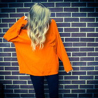 Vintage Batwing Tangerine Orange Oversized Pocket Blouse