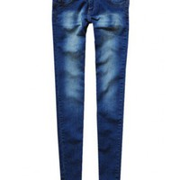 Low Waist Dark blue cotton embroidery skinny Jeans  Low Waist type  Solid Pop  style zz916020 in  Indressme