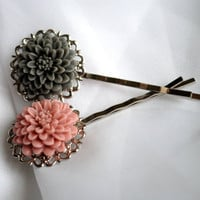 Flower Bobby Pins Pink &amp; grey by SRoskilly on Etsy