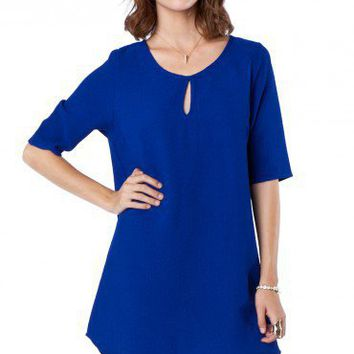Romee Keyhole Shift Dress in Cobalt - ShopSosie.com