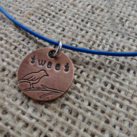 Copper Bird on a Branch Pendant on Bright Blue Leather Cord - Hand Stamped &quot;Tweet&quot;