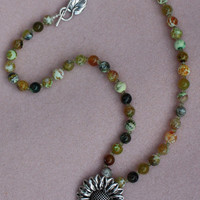 Green Fire Agate Sunflower Necklace