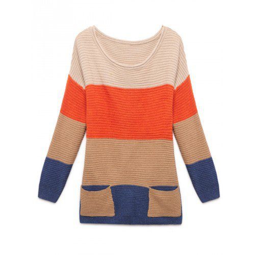 Orange  Round Neck Long Sleeves Stripped Two Pockets Casual Loose Knitting Women Free Size Sweater @MFA38or