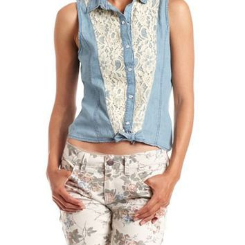 Lace-Inset Denim Tie-Front Top: Charlotte Russe