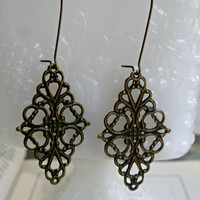 Large filigree earrings- Antique bronze filigree earrings- Ornate filigree earrings- Lace filigree earrings- Filigree earrings- Fall fashion