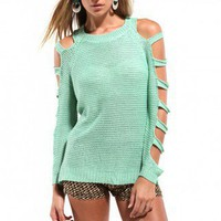 Open Arms Loose Knit Sweater in Mint
