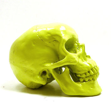 neon skull head, halloween, lime green, spooky, skulls, eclectic home decor, neon accents, creepy, october, autumn, heads