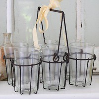 French Style Glasses In Wire Carrier by Shabbyfufu on Etsy