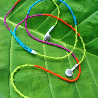 "Headphones: ""Tutti Frutti""  - Wrapped Embroidered Ear Buds"
